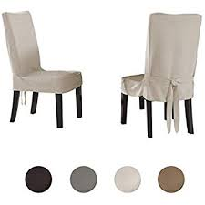 serta relaxed fit smooth suede furniture slipcover for dining room chair short skirt ivory