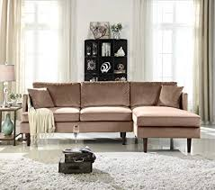 microfiber sectional sofa. Exellent Microfiber MidCentury Modern Brush Microfiber Sectional Sofa LShape Couch With  Extra Wide To Sofa Amazoncom