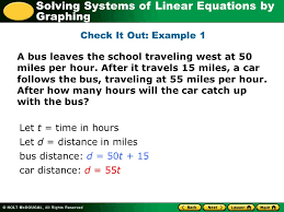 solving systems of linear equations by graphing a bus leaves the school traveling west at 50