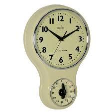 Retro Kitchen Wall Clocks Acctim Vintage Retro Cream Kitchen Wall Clock With Kitchen Timer