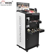 china custom floor standing cosmetic display stand movable for point of rel supplier