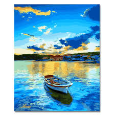 wood frame paint by numbers diy oil painting single boat canvas print wall art home decoration by rihe on on