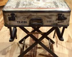 SOLD ~ Accepting Custom Orders Rustic Industrial Nightstand End/Accent  Table Suitcase Luggage Antiqued Vintage