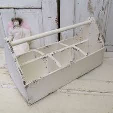 vintage wooden tool caddy. wooden tool box caddie french nordic white painted old salvaged tote large wood shabby cottage chic display storage piece anita spero design vintage caddy