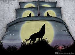 3d yellow moon wolf bedding sets queen duvet cover stars bedlinens single twin king cal king size galaxy bedspreads animal bed set skateboard