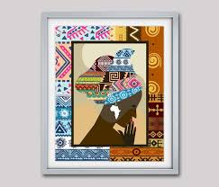 african woman african print african wall decor african wall art african fabric design art on african cloth wall art with african woman african print african wall decor african wall art