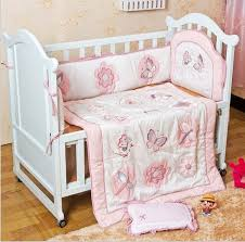 C 3PCS Embroidery Baby Girl Bedding 100Cotton Printed Crib Set Cot  Quilt