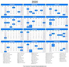 Yearly 2020 Calendar Templates Helena Orstem Medium