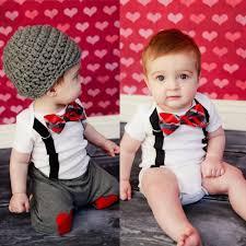 New Cute Baby Boy Clothing Sets Bow Tie Bodysuit Suspenders Pants