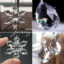 10 50pcs clear snowflakes crystal glass beads chandelier ornaments xmas decor