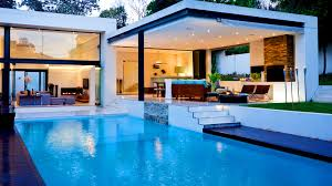... Cool Pool Houses Design : Luxury House Design With Rectangular Swimming  Pool And Square Backyard Porch ...