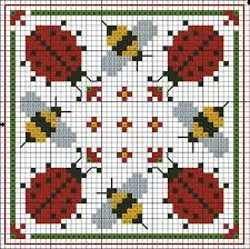 Free Biscornu Charts Free Cross Stitch Chart Ladybugs And Bees Square Cross