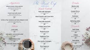 Cafe Menu Template White French Cafe Menu Template Postermywall