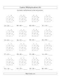 Multiplication Worksheet -- Lattice Multiplication -- Two-digit by ...