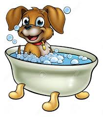 73267660 a cartoon dog having bath with lots of bubbles bathtub clipart