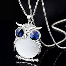 crystal owl necklace charm