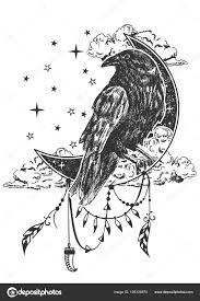 вектор бохо ворон татуировки или футболку дизайн распечатки