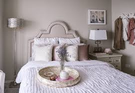 a blush pink grey and gold guest bedroom design with havenly and pier 1