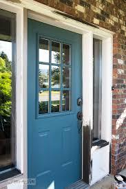 front door repaint in fusion mineral paint s homestead blue funkyjunkinteriors net