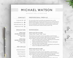 Modern Resume Etsy Word Template Resume Etsy