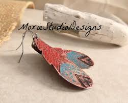 Rustic Turquoise and <b>Red Feather</b> Earrings Copper Boho   Etsy