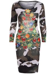 Long Sleeve Dresses Camouflage Color L Camouflage Print
