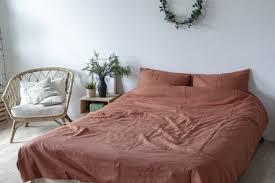 3 pieces linen bedding set in dark