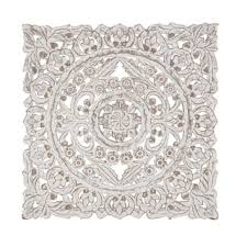 rustic wood whitewashed floral medallion wall panel on carved medallion wall art panels set of 4 with wood wall sculptures find great art gallery deals shopping at
