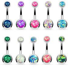 Bodyj4you Bodyj4you 10pcs Belly Button Ring Double Created Opal Cz