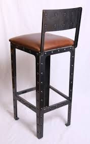 padded saddle bar stools. Black Lacquer Metal Industrial Bar Stool With Backrest And Back Footrest Using Square Brown Leather Padded Saddle Stools