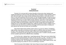 summer reflective essay a level english marked by teachers com document image preview