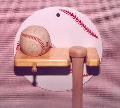 wall hanging baseball bat and ball