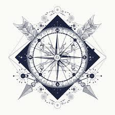Fototapeta Kompas A Zkřížené šípy Tetování Symbol Cestovního Ruchu