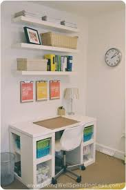 office space organization. Floating Shelves Above The Desk In A Small Office Space. Space Organization