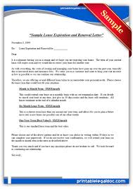 Lease Renewal Letter To Tenant Template Printable Sample Sample Lease Expiration And Renewal Letter Form