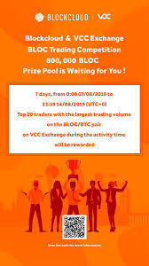 Vcc Organizational Chart Blockcloud Bloc Trading Competition On Vcc Exchange Coindar
