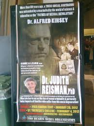 culture fitzpatrick informer page  a poster advertising a presentation by judith reisman depicts kinsey and the nazis