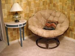 Simple Papasanr With Brown Tufted Seat And Cushion Aso Half Round