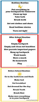 Daily Chore Chart Ideas Back To School Chore Charts For Before And After School