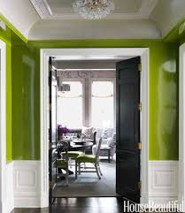dining room entryway with green paint also decorative coved ceiling