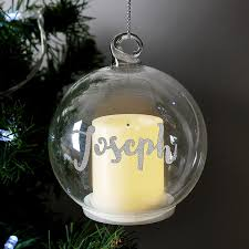 Personalised Light Up Christmas Baubles P M C Personalised Glass Christmas Flickering Led Candle