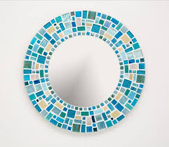 mosaic wall mirror in blue turquoise