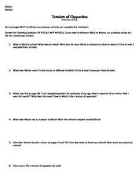 tuesdays morrie life lessons project life lessons tuesday  tension of opposites worksheet