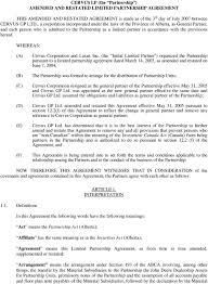 Cervus Lp Amended Restated Limited Partnership Agreement Pdf