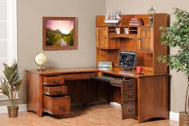 corner computer desk with hutch for your home office decor l shaped natural walnut wood