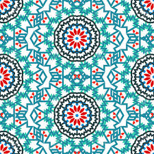 Bohemian Pattern Custom Vector Tribal Colorful Bohemian Pattern With Big Abstract Flowers