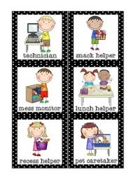 Helper Charts For Preschool With Pictures Classroom Helpers Set Free
