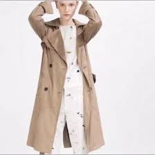 details about zara woman faux suede trench coat long jacket size medium camel brown