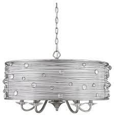 joia 5 light pendant with sheer filigree mist shade peruvian silver