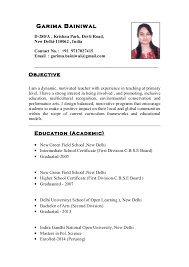Indian School Teacher Resume Impressive Resume Sample For Hindi